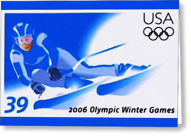 Olympic Skier Print Greeting Cards - Olympic Winter Games Greeting Card by Lanjee Chee