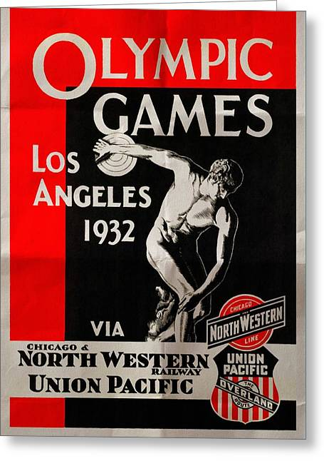 Olympic Games Los Angeles 1932 - Folded Greeting Card by Vintage Advertising Posters
