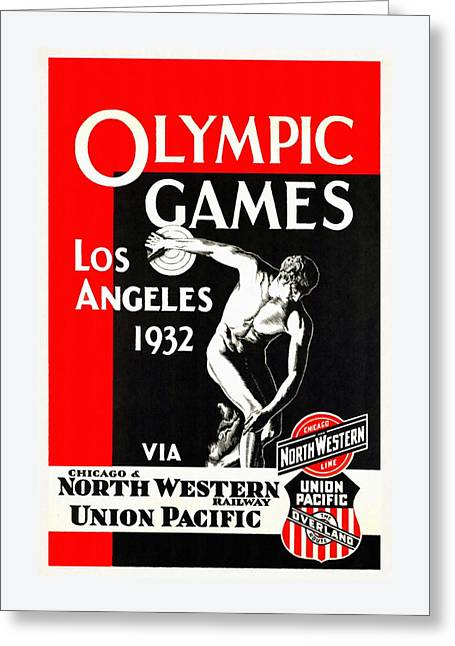 Olympic Games Los Angeles 1932 - Restored Greeting Card by Vintage Advertising Posters