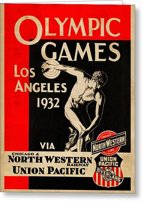 Olympic Games Los Angeles 1932 - Vintagelized Greeting Card by Vintage Advertising Posters