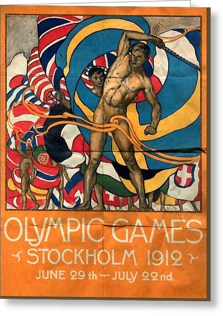 Olympic Games Stockholm 1912 - Folded Greeting Card by Vintage Advertising Posters