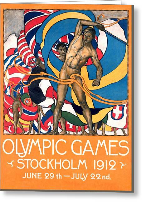 Olympic Games Stockholm 1912 - Restored Greeting Card by Vintage Advertising Posters