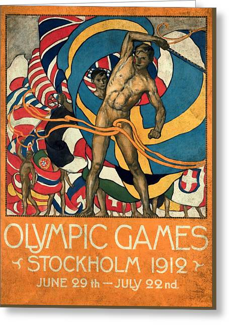 Olympic Games Stockholm 1912 - Vintagelized Greeting Card by Vintage Advertising Posters