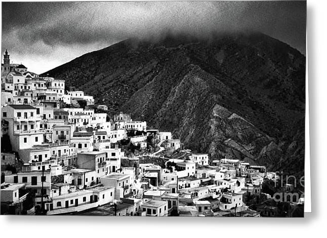 Silvia Ganora Greeting Cards - Olympos. Karpathos Island Greece Greeting Card by Silvia Ganora