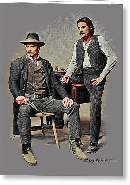 Celebrity Portraits Pastels Greeting Cards - Bullock and Swearengen Greeting Card by Michael Shifflett