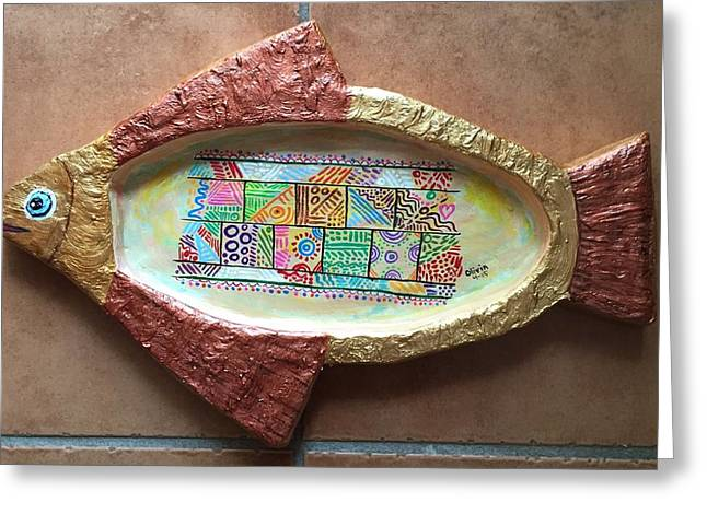 Shape Ceramics Greeting Cards - Olys Fish - El Pescado de Oly Greeting Card by Olivia Sifontes