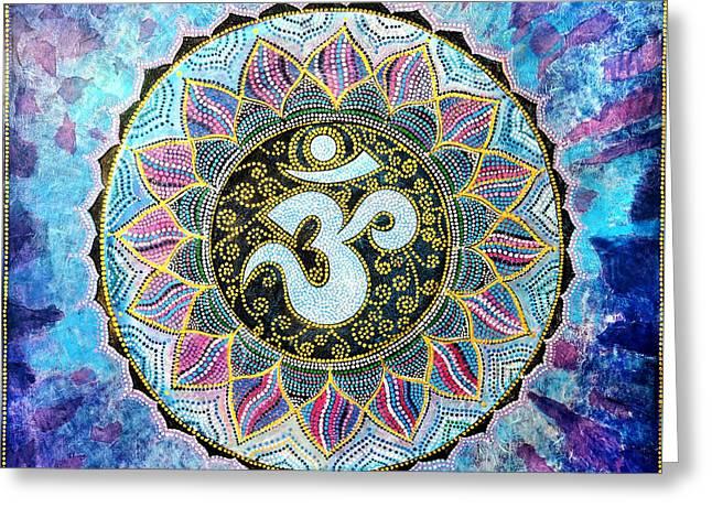Om Mandala Greeting Card by Agnieszka Szalabska