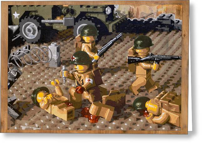 Lego Mixed Media Greeting Cards - Omaha Beach June 6 1944 Greeting Card by Josh Bernstein