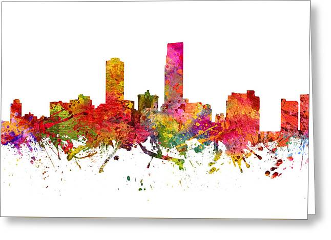 Omaha Greeting Cards - Omaha Cityscape 08 Greeting Card by Aged Pixel