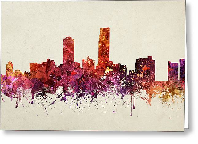 Skylines Drawings Greeting Cards - Omaha Cityscape 09 Greeting Card by Aged Pixel