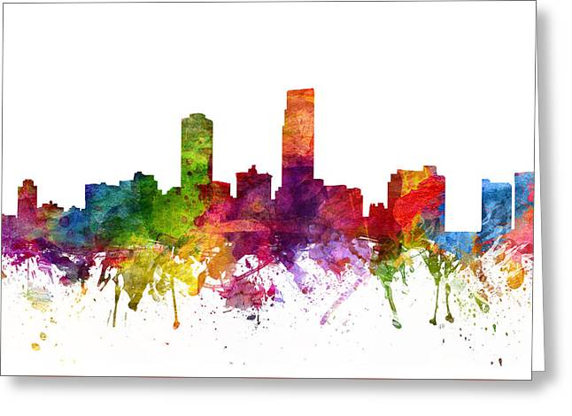 Omaha Greeting Cards - Omaha Cityscape 06 Greeting Card by Aged Pixel