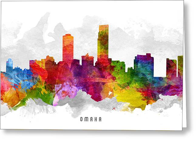Omaha Greeting Cards - Omaha Nebraska Cityscape 13 Greeting Card by Aged Pixel