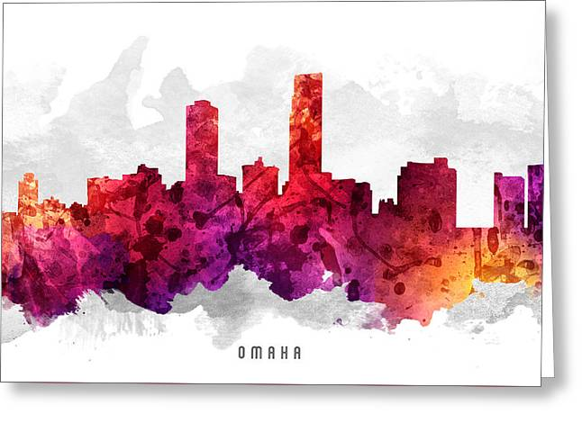 Omaha Greeting Cards - Omaha Nebraska Cityscape 14 Greeting Card by Aged Pixel