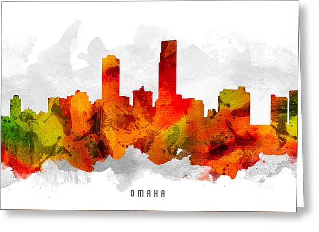 Omaha Greeting Cards - Omaha Nebraska Cityscape 15 Greeting Card by Aged Pixel