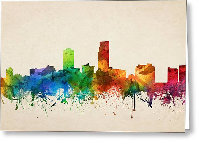 Omaha Greeting Cards - Omaha Nebraska Skyline 05 Greeting Card by Aged Pixel