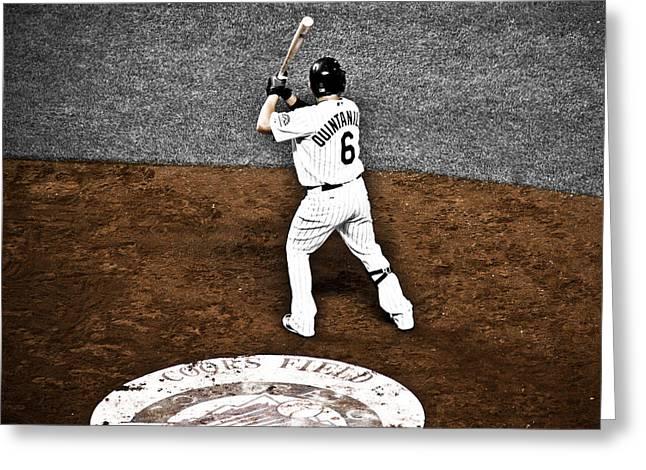 Baseball Bat Greeting Cards - Omar Quintanilla Pro Baseball Player Greeting Card by Marilyn Hunt