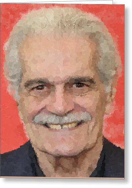 Omar Sharif Greeting Cards - Omar Sharif Portrait 1 Greeting Card by Samuel Majcen