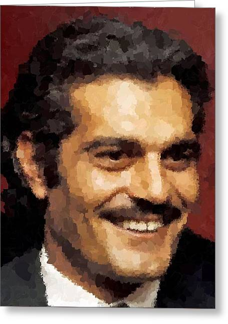 Omar Sharif Greeting Cards - Omar Sharif Portrait Greeting Card by Samuel Majcen