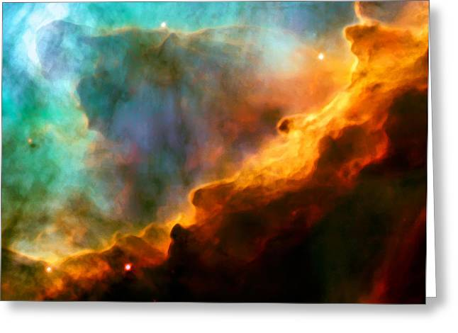 Hubble Photographs Greeting Cards - Omega Swan Nebula 3 Greeting Card by The  Vault - Jennifer Rondinelli Reilly