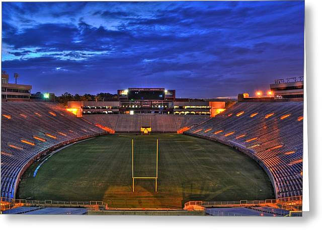 Noles Greeting Cards - Ominous Stadium Greeting Card by Alex Owen