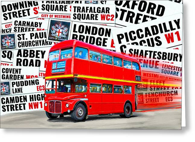 On A Bus For London Greeting Card by Mark E Tisdale