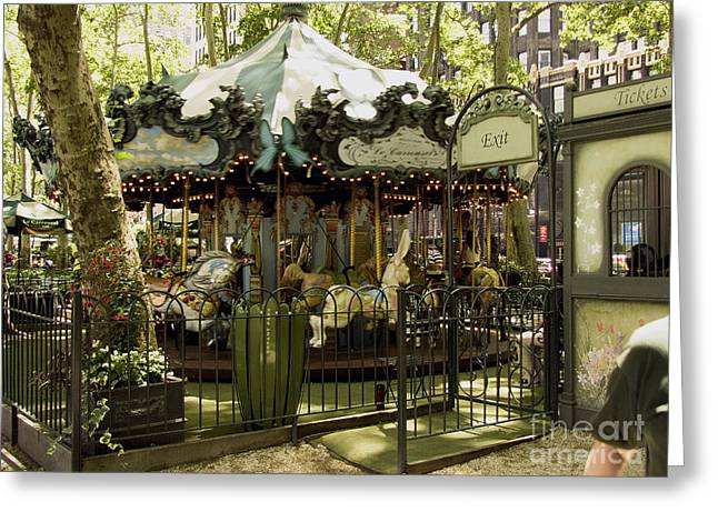 On A Carousel Greeting Card by Phil Welsher