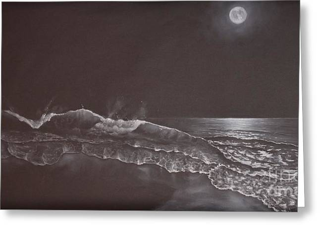 Moon Beach Drawings Greeting Cards - On a Clear Night Greeting Card by David Swope