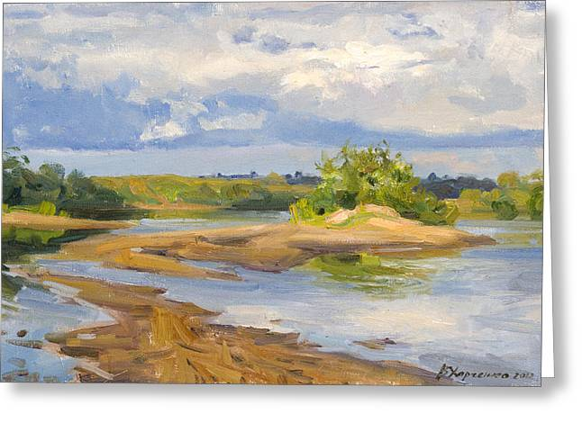 River Paintings Greeting Cards - On  a sandy shallow Greeting Card by Victoria Kharchenko