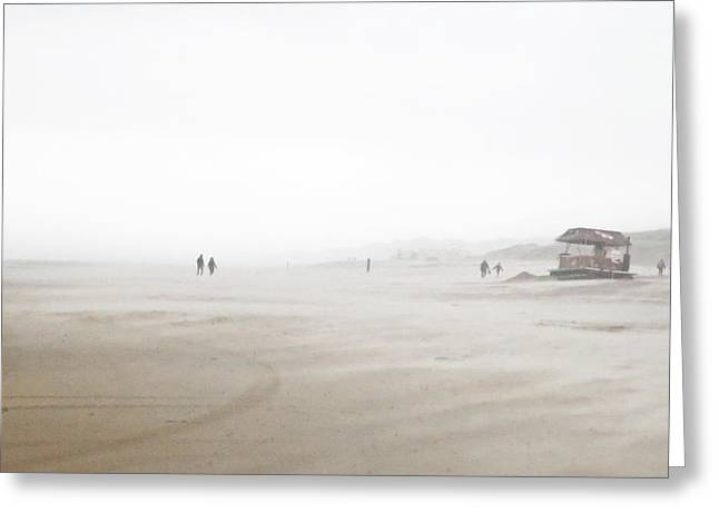 Beach Storm Greeting Cards - On A Windy Day At The Beach. Greeting Card by Ben Van Der Sande