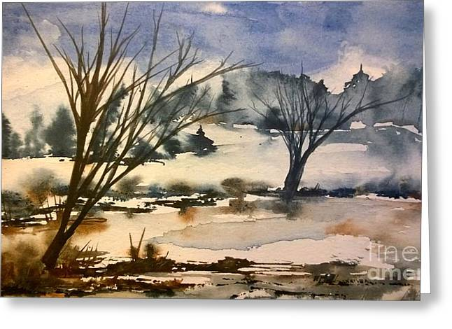 Wet Into Wet Watercolor Greeting Cards - On a Winters Day Greeting Card by Eunice Miller