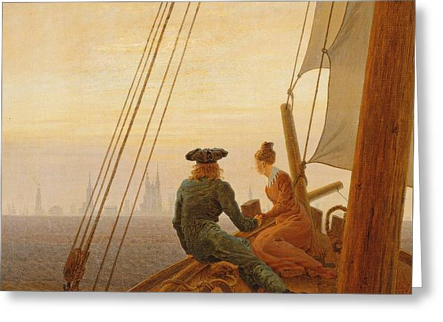 On Board A Sailing Ship Greeting Card by Caspar David Friedrich