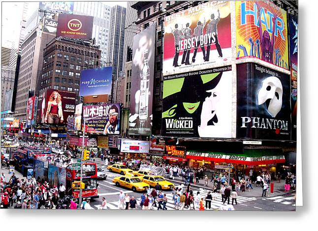 New York City Paintings Greeting Cards - On BroadWay New York Greeting Card by Rosie Brown