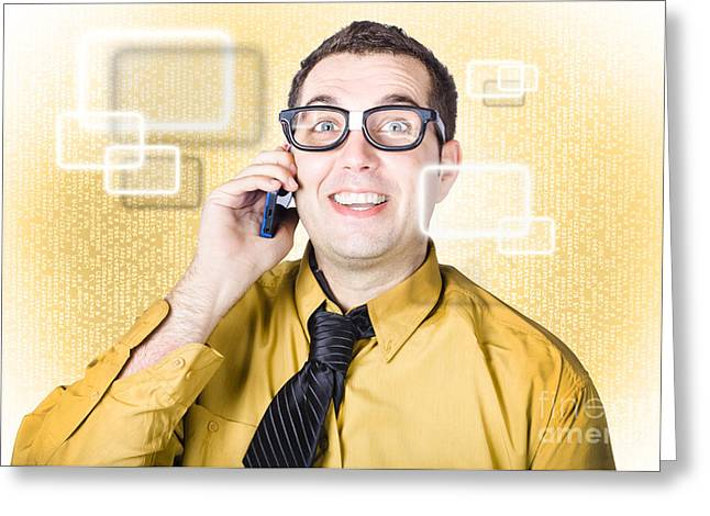 On Call It Consultant Giving Network Advice Greeting Card by Jorgo Photography - Wall Art Gallery