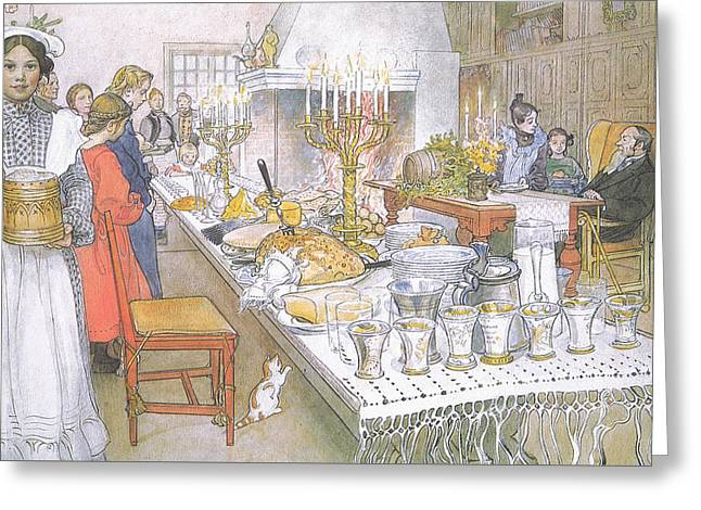 Dinner Table Greeting Cards - On Christmas Eve Greeting Card by Carl Larsson