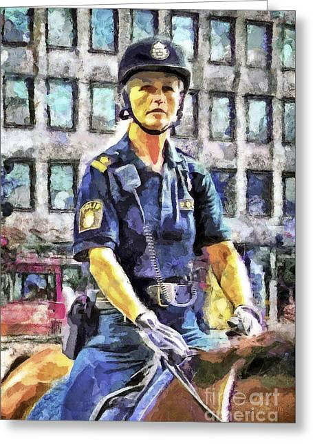Policewoman Greeting Cards - On Duty Greeting Card by GabeZ Art