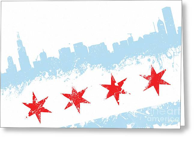 Stencil Spray Greeting Cards - Chicago Flag Lean Greeting Card by Mike Maher