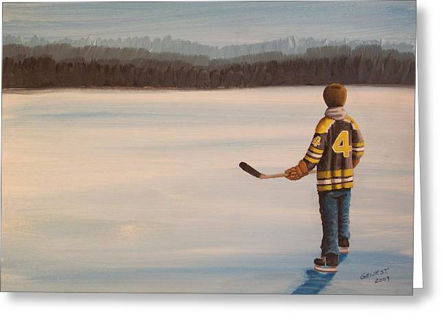 Youth Hockey Paintings Greeting Cards - On Frozen Pond - Bobby Greeting Card by Ron  Genest