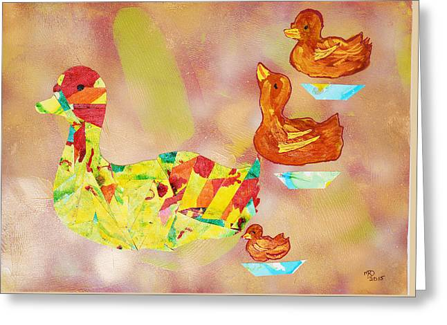 Ducklings Mixed Media Greeting Cards - On Golden Pond  Greeting Card by Marianne Davidow