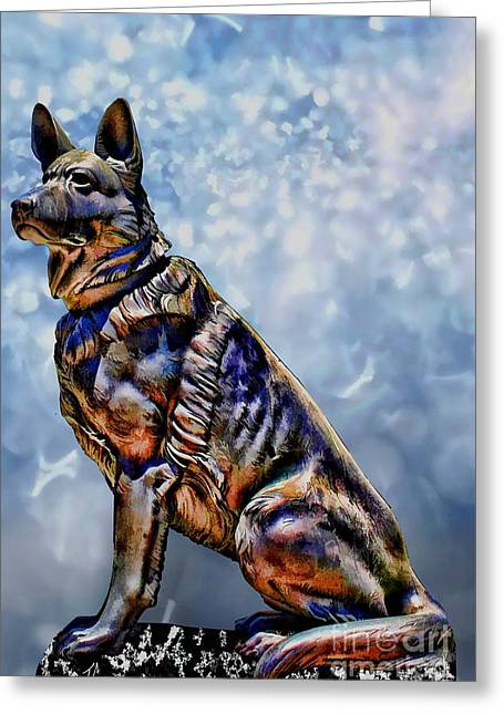 Working Dog Digital Greeting Cards - On Guard Greeting Card by Tommy Anderson