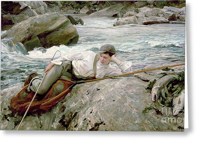 Stream Greeting Cards - On His Holidays Greeting Card by John Singer Sargent