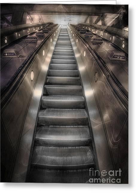 Escalator Greeting Cards - On Metal Monsters We Ride Greeting Card by Evelina Kremsdorf