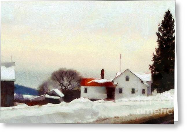 Way Home Greeting Cards - On my way home - Winter Farmhouse Greeting Card by Janine Riley