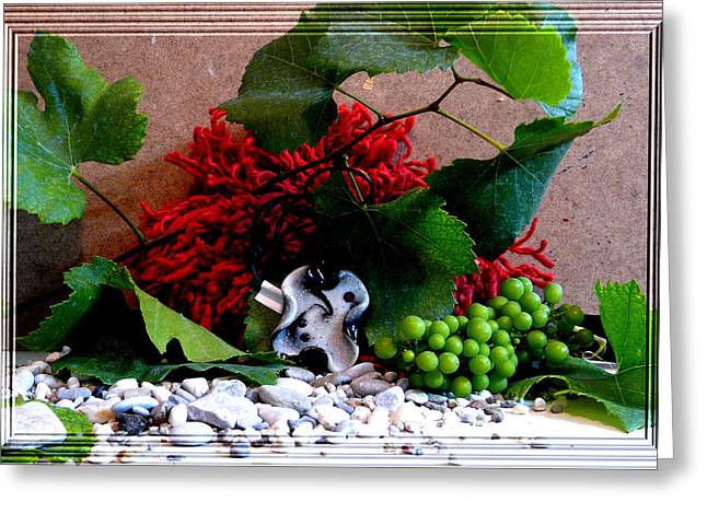 Grape Leaves Jewelry Greeting Cards - On pebbles Greeting Card by Chara Giakoumaki