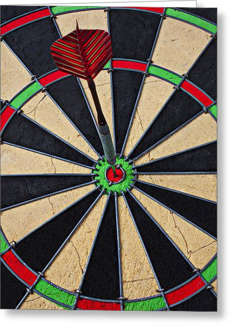 Throwing Greeting Cards - On Target Bullseye Greeting Card by Garry Gay