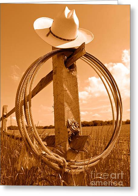 On The American Ranch - Sepia Greeting Card by Olivier Le Queinec