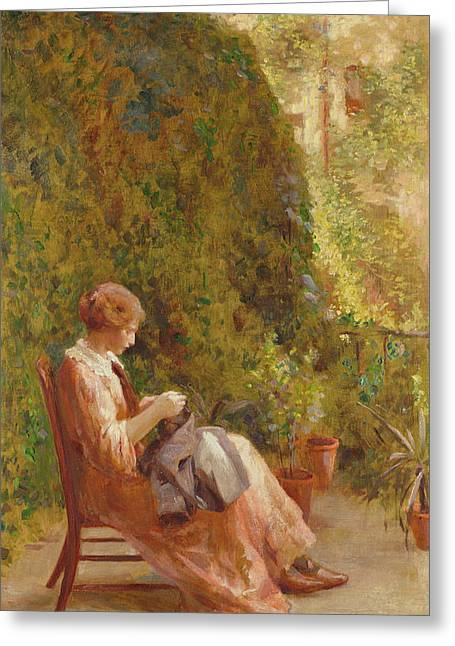 On The Balcony Greeting Card by Henry Thomas Schafer