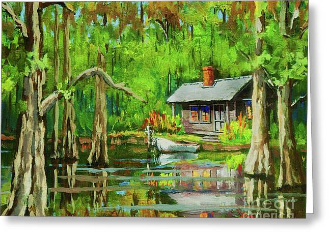 Cabin Greeting Cards - On the Bayou Greeting Card by Dianne Parks