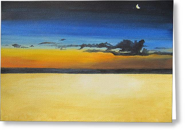 Moody Pastels Greeting Cards - On the Beach at Night Greeting Card by Leslie Gustafson