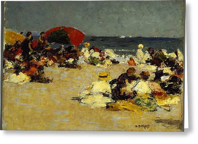 On The Beach Greeting Card by Edward Henry