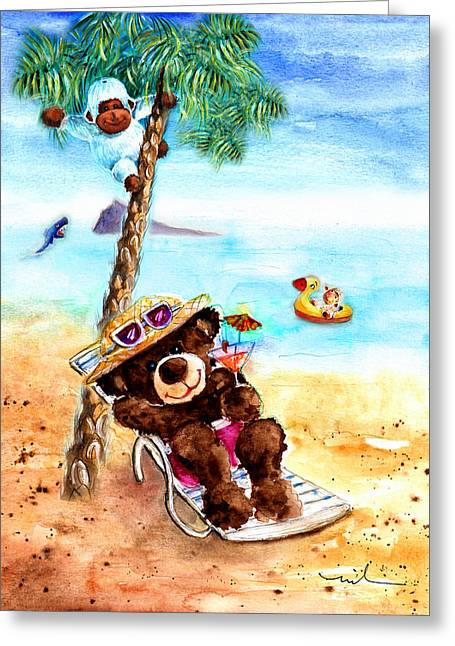 On The Beach In Benidorm Greeting Card by Miki De Goodaboom